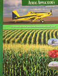 Cover for Aerial Applicators training manual. Yellow plane flying low over corn field.