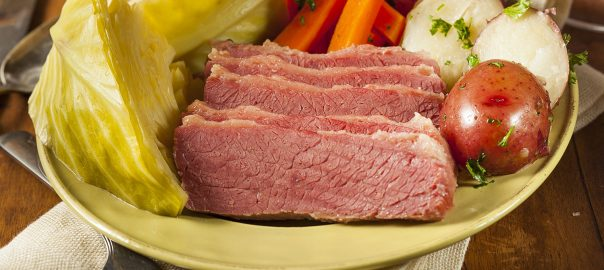 Corned beef with carrots, potatoes and cabbage