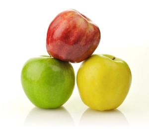 Red, yellow and green apple