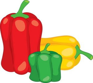 Red, yellow and green bell pepper