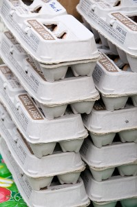 stack of egg cartons