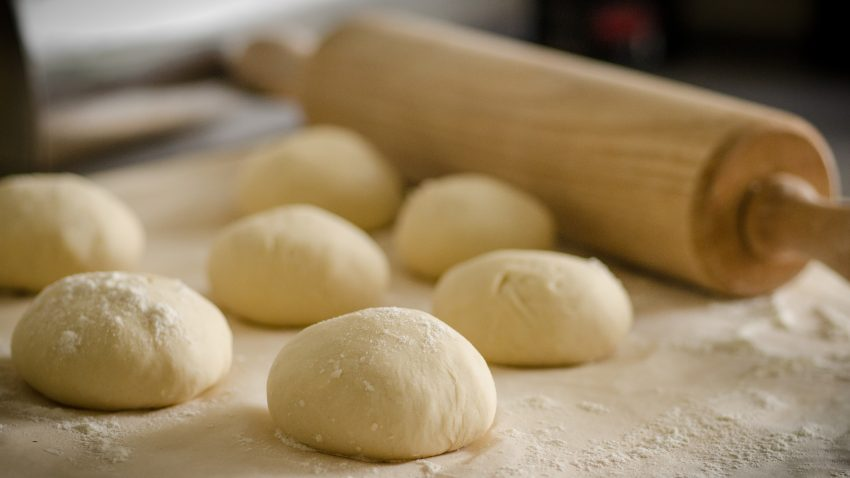Pizza Dough Balls with rolling pin