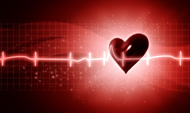 Animated heart with red background, heart beat going through screen