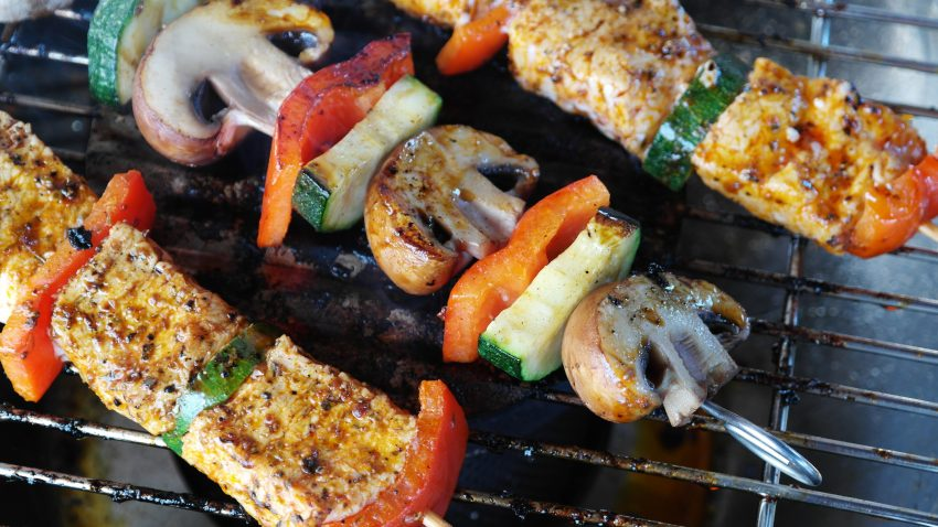 grilling meat and veggies