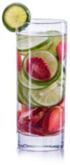 Water infused with lime and strawberries