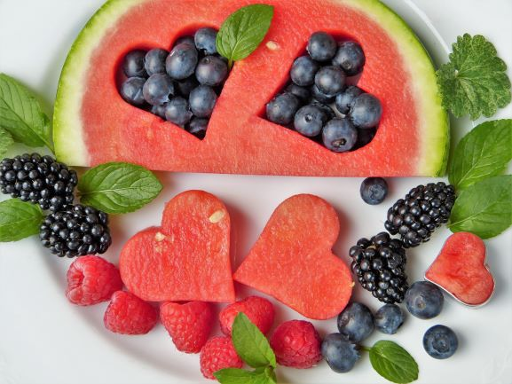 Watermelon with Berries- Heart Shaped