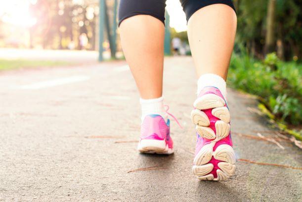 Women wearing sport shoes walking