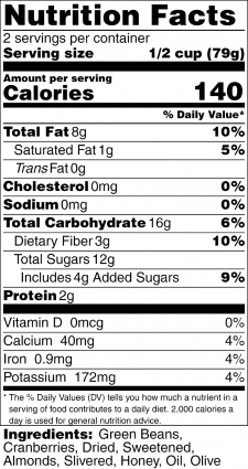 Cranberry Almond Green Beans Nutrition Label