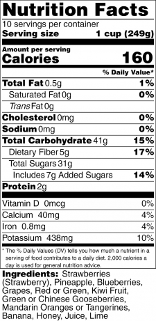 Honey LimeRainbow Fruit Salad Nutrition Label