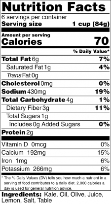 Kale Chips Nutrition Label