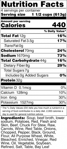 Old Fashioned Beef Stew Nutrition Label