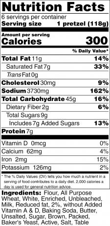 Soft Pretzels Nutrition Label