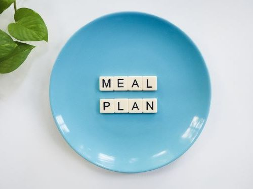 Blue plate with the words meal plan on top