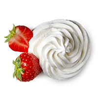 Whipped creme and strawberries