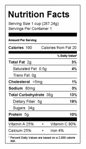 nutrition food label