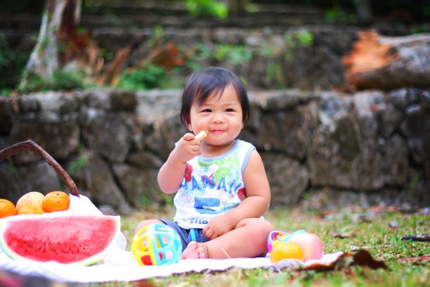 Toddler eating fresh fruits sitting on blanket outside