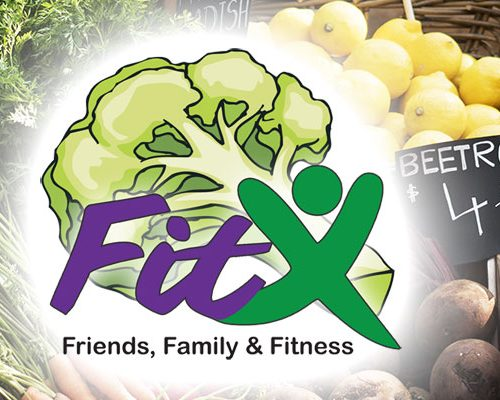 FitX logo above fruits and vegetables