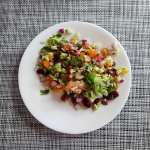 salad serving on white plate