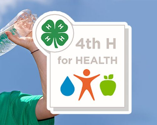 Boy drinking water with the 4th H for Health logo