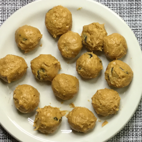 rolled balls on white plate
