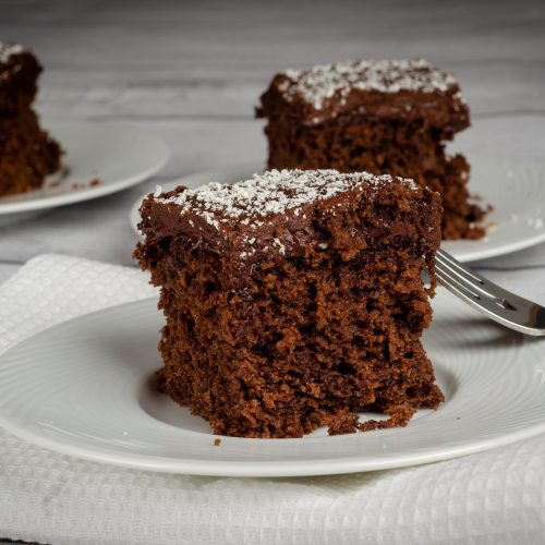 slices of chocolate cake on plates