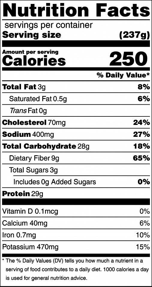 Chicken Fajitas Nutrition Label