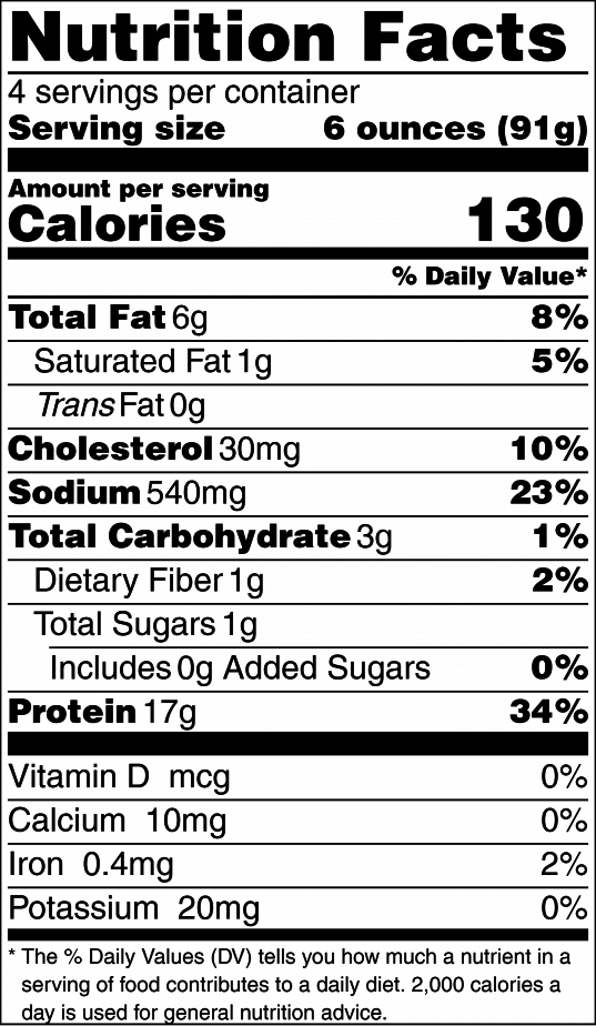 Easy Baked Salmon Nutrition Label