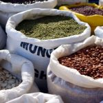 bags of dry foods like beans, peas, lentils